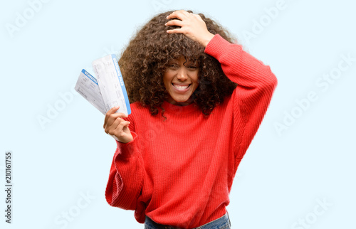 Stressed Out Students How Boarding >> African American Woman Holding Airline Boarding Pass Tickets