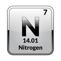 The periodic table element Nitrogen.Vector.