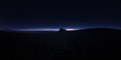 Night landscape with stars and the full moon. Panorama, environment 360 HDRI map. Equirectangular projection, spherical panorama.