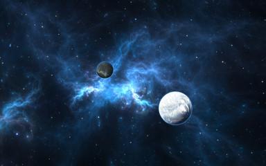Exoplanets or Extrasolar planet with stars on nebula background