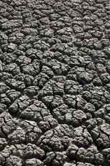 Textured dry cracked land after drought, natural disaster