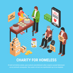 Charity For Homeless Isometric Poster