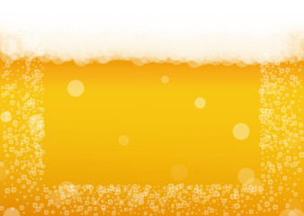 Beer background with realistic bubbles.  Cool beverage for restaurant menu design, banners and flyers.  Yellow horizontal beer background with white foam. Cold glass of ale for brewery design.