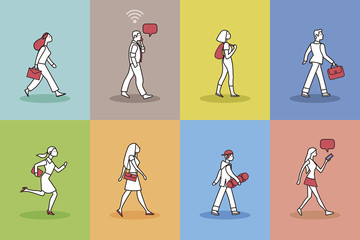 Walking People Pictogram Set