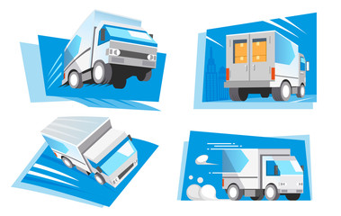 Super speed delivery everything service concept. Truck have a quick shipment.