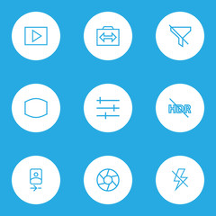 Image icons line style set with hdr off, monitor, multimedia and other switch cam