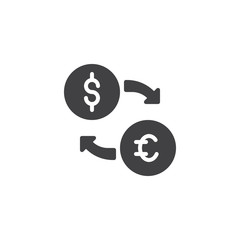 Currency Exchange vector icon. filled flat sign for mobile concept and web design. exchange euro and dollar money simple solid icon. Symbol, logo illustration. Pixel perfect vector graphics
