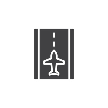 Airport runway vector icon. filled flat sign for mobile concept and web design. Runway and airplane simple solid icon. Symbol, logo illustration. Pixel perfect vector graphics