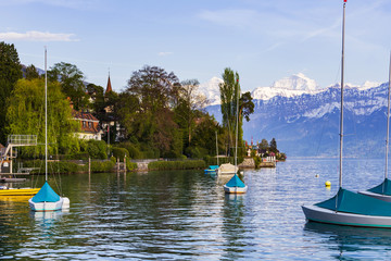 Sailing boats at lake Thun ( Thunersee ) infornt of Alps mountain in the evening