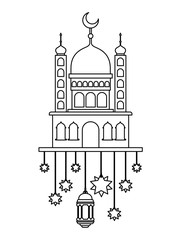arabic castle with moon and decoration hanging vector illustration design