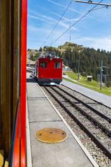 Rigi bahn electric cable tram  on Rigi kulm , Alpine mountain