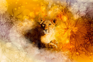 cute lion and ornaments. Softly blurred watercolor background.
