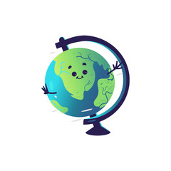 Funny globe sphere cartoon character isolated on white background. Cute geographical layout of earth personage with smiling face for back to school concept in vector illustration.