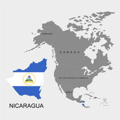 Territory of Nicaragua on North America continent. Flag of Nicaragua. Vector illustration