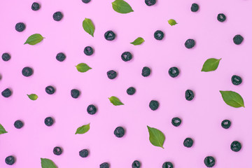.Black raspberry, seasonal berry with leaves on a beautiful toned pink background.