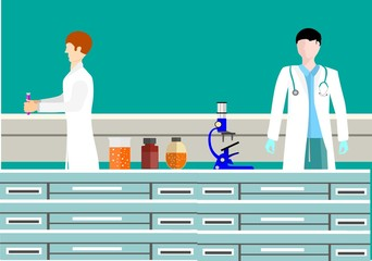 Scientific medical laboratory working people