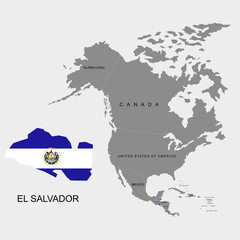 Territory of El Salvador on North America continent. Flag of El Salvador. Vector illustration