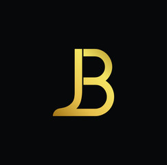 Creative modern professional unique artistic gold color JB BJ initial based Alphabet icon on black background
