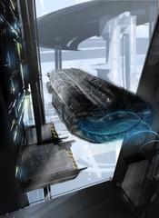 Spaceship leaving hangar towards futuristic cityscape