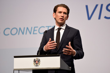 Federal Chancellor of Austria Kurz attends a news conference in Budapest