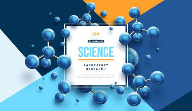 Science banner with blue molecules