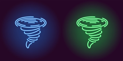 Neon icon of Blue and Green Tornado