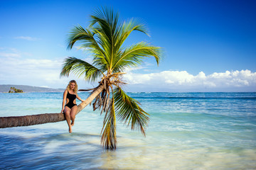 girl on the palm tree