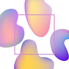 Colorful gradient banner with trendy abstract fluid color shapes and bubbles on white background with frame and empty copy space - vector illustration of modern business template.