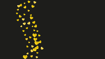 Bridal shower background with gold glitter hearts. Valentine day. Vector confetti. Hand drawn. Love theme for gift coupons, vouchers, ads, events. Wedding and bridal shower template with heart