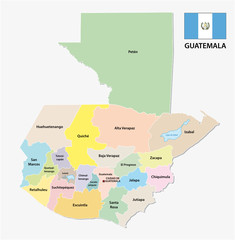 guatemala administrative and political vector map with flag