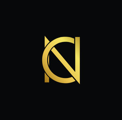 Creative modern professional unique artistic gold color CN NC initial based Alphabet icon on black background
