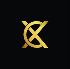 Creative modern professional unique artistic gold color CX XC initial based Alphabet icon on black background