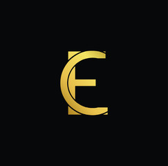 Creative modern professional unique artistic gold color CE EC initial based Alphabet icon on black background