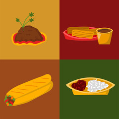 Mexican traditional food cards with meat avocado tequila corn spicy pepper salsa lunch sauce cuisine vector illustration