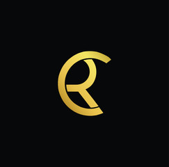 Creative modern professional unique artistic gold color CR RC initial based Alphabet icon on black background