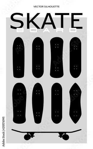 Skateboard Vector Silhouette Set