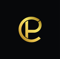 Creative modern professional unique artistic gold color CP PC initial based Alphabet icon on black background