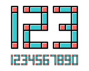 Geometric font line digital effect design numbers Space futuristic style Vector alphabet