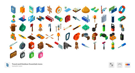 Travel and outdoor essentials icons