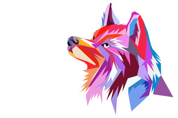 the head of a wolf. polygon style.