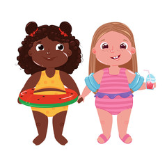 Two little girls on the beach. Hello summer. Friends fun game and holiday at sea