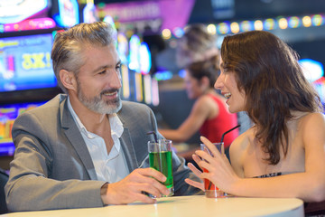 couple having a date in a casino