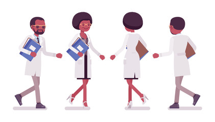 Male and female black scientist walking