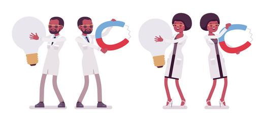 Male and female black scientist and giant things