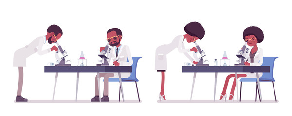 Male and female black scientist with microscope