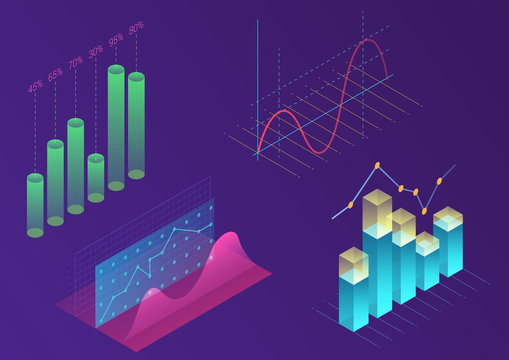 Bright modern gradient color infographic vector elements. 3d isometric design for promotion, presentation, sales banner, income report design, stylish website.