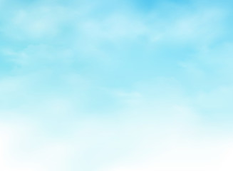 Abstraction of realistic clouds on clear blue sky background.