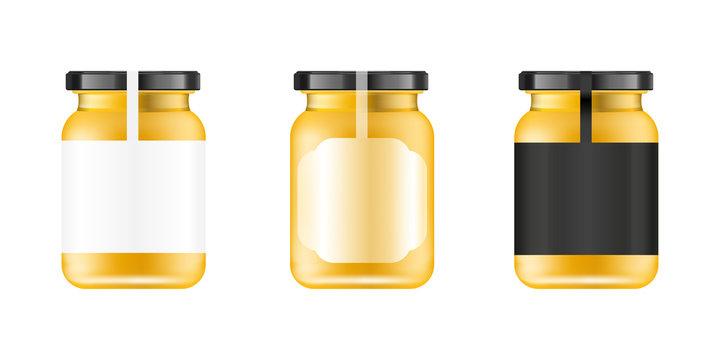 Realistic glass jar. Food bank. Sause packaging design. Mock up glass jar with design label or badges. Vector illustrations.