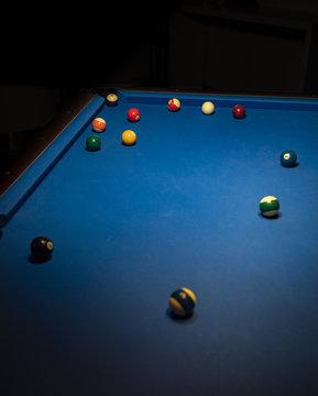 Blue billiard table and billiard balls