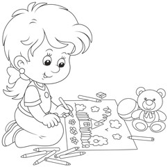 Little girl drawing a funny picture with pencils, black and white vector illustration in a cartoon style for a coloring book